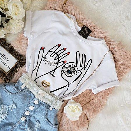 T-shirt Luxo Mão Olho Branca