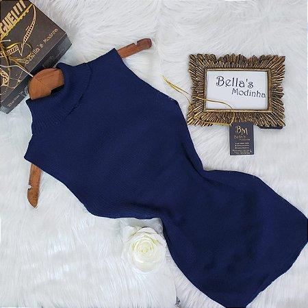 Regata Tricot Modal com Gola Azul