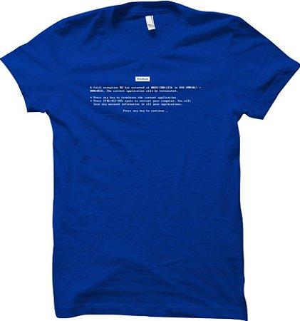 Camiseta Erro Fatal - Tela Azul