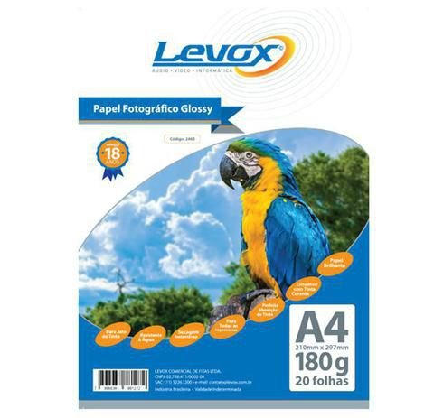 PAPEL GLOSSY A4 180G PACOTE C/20 FOLHAS LEVOX 2462