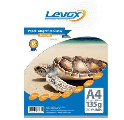 PAPEL GLOSSY ADESIVADO A4 135G PACOTE C/20 FOLHAS LEVOX 2465