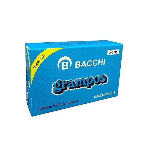 GRAMPO GALVANIZADO 24/6 CAIXA COM 5000 UN. BACCHI