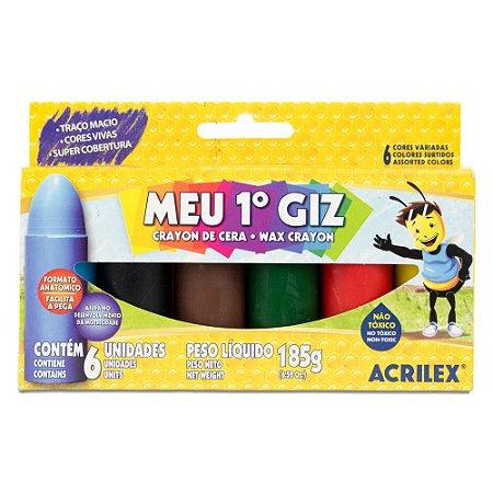 GIZ DE CERA MEU 1º GIZ C/6 CORES 185G ACRILEX 09506