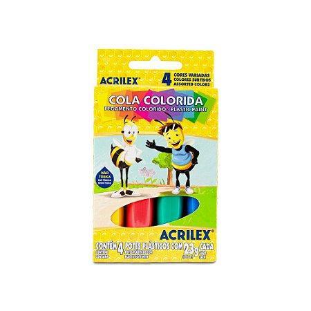 COLA COLORIDA 23G C/4 CORES ACRILEX 02604