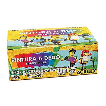 PINTURA A DEDO 30ML C/6 CORES ACRILEX 11306