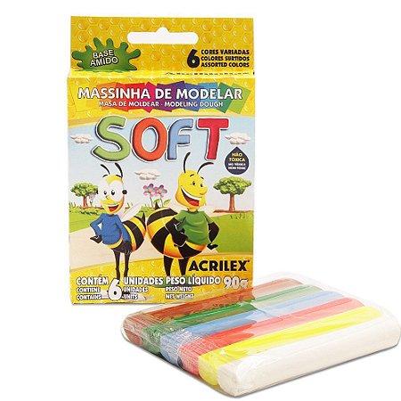MASSINHA DE MODELAR SOFT C/6 CORES 90G ACRILEX 07316