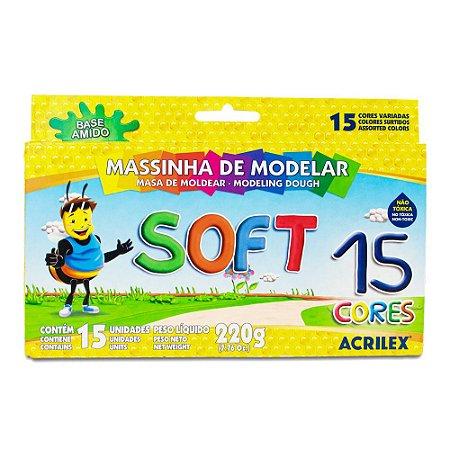 MASSINHA DE MODELAR SOFT C/15 CORES 220G ACRILEX 07314