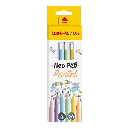 CANETA HIDROGRAFICA NEO-PEN GIGANTE C/6 CORES PASTEL COMPACTOR