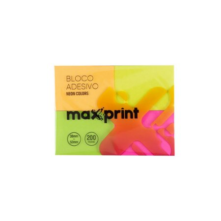 BLOCO ADESIVO 38X50MM 4 CORES NEON MAXPRINT 741705