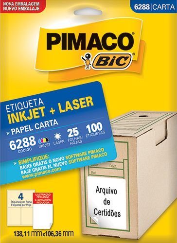 ETIQUETA INKJET/LASER CARTA 138,11 x 106,36 C/25 FLS PIMACO 6288
