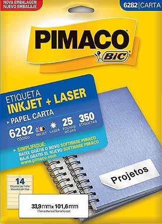 ETIQUETA INKJET/LASER CARTA 33,9 x 101,6 C/25 FLS PIMACO 6282