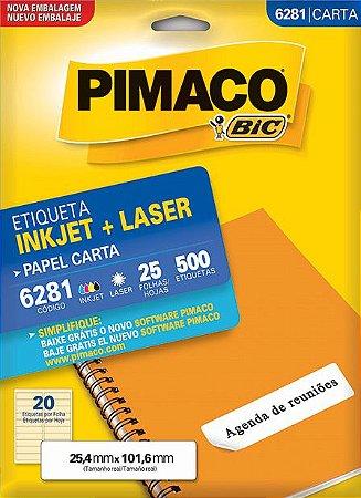 ETIQUETA INKJET/LASER CARTA 25,4 x 101,6 C/25 FLS PIMACO 6281
