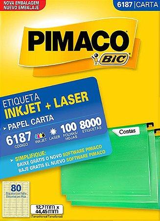 ETIQUETA INKJET/LASER CARTA 12,7 x 44,45 C/100 FLS PIMACO 6187