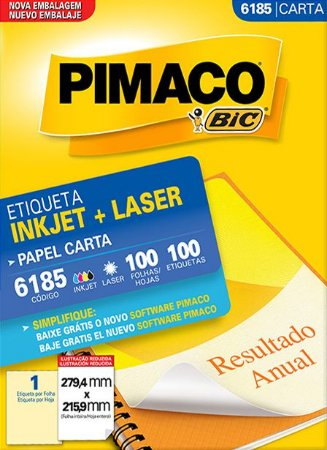 ETIQUETA INKJET/LASER CARTA 279,4 x 215,9 C/100 FLS PIMACO 6185