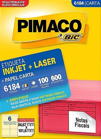 ETIQUETA INKJET/LASER CARTA 84,67 x 101,6 C/100 FLS PIMACO 6184