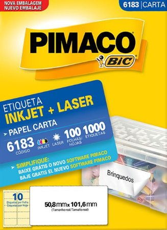 ETIQUETA INKJET/LASER CARTA 50,8 x 101,6 C/100 FLS PIMACO 6183
