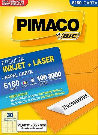 ETIQUETA INKJET/LASER CARTA 25,4 x 66,7 C/100 FLS PIMACO 6180