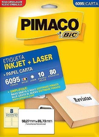 ETIQUETA INKJET/LASER CARTA 59,27 x 85,73 C/10 FLS PIMACO 6095