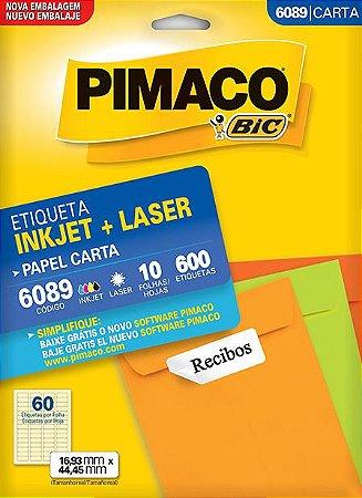ETIQUETA INKJET/LASER CARTA 16,93 x 44,45 C/10 FLS PIMACO 6089