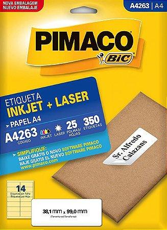 ETIQUETA INKJET/LASER A4 38,1 x 99,0 C/25 FLS PIMACO A4263