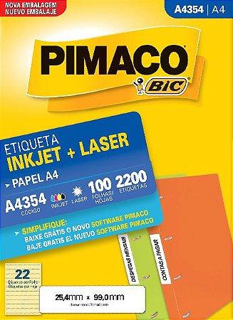 ETIQUETA INKJET/LASER A4 25,4 x 99,0 C/100 FLS PIMACO A4354