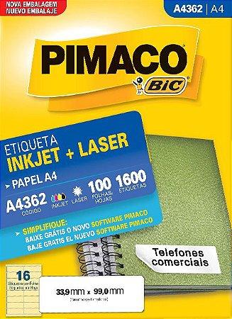 ETIQUETA INKJET/LASER A4 33,9 x 99,0 C/100 FLS PIMACO A4362