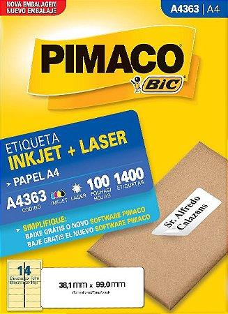 ETIQUETA INKJET/LASER A4 38,1 x 99,0 C/100 FLS PIMACO A4363