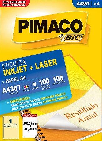 ETIQUETA INKJET/LASER A4 288,5 x 200,0 C/100 FLS PIMACO A4367