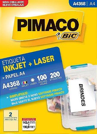 ETIQUETA INKJET/LASER A4 143,4 199,9 C/100 FLS PIMACO A4368