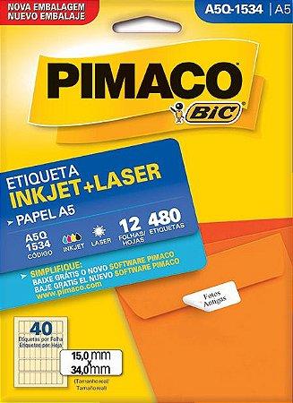 ETIQUETA INKJET/LASER A5 15,0 x 34,0 C/12 FLS PIMACO A5Q-1534