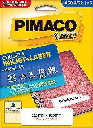 ETIQUETA INKJET/LASER A5 32,0 x 90,0 C/12 FLS PIMACO A5Q-3272