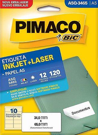 ETIQUETA INKJET/LASER A5 34,0 x 65,0 C/12 FLS PIMACO A5Q-3465