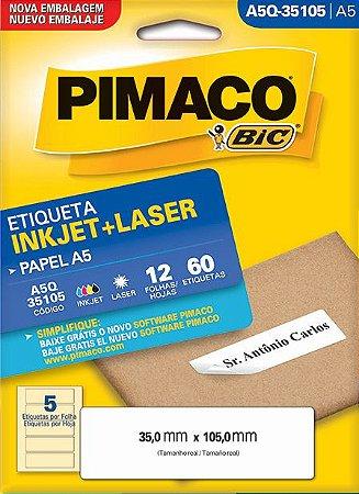 ETIQUETA INKJET/LASER A5 35,0 x 105,0 C/12 FLS PIMACO A5Q-35105