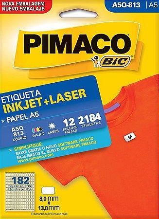 ETIQUETA INKJET/LASER A5 8,0 x 13,0 C/12 FLS PIMACO A5Q-813