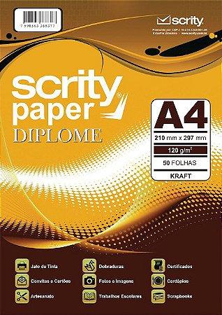 PAPEL DIPLOME KRAFT A4 120G PCTE C/50 FOLHAS SCRITY SP 051.06