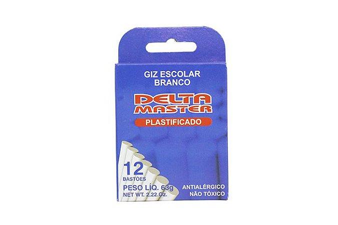 GIZ ESCOLAR PLASTIFICADO BRANCO CX C/12 UN. DELTA 0034