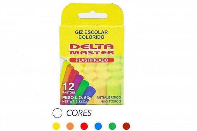 GIZ ESCOLAR PLASTIFICADO COLORIDO CX C/12 UN. DELTA 0035