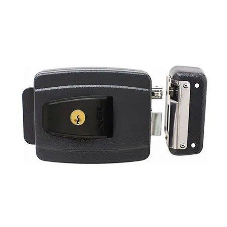 Fechadura Eletrica AGL AL100R Chave Simp F. Espelho c/ Botao Preta
