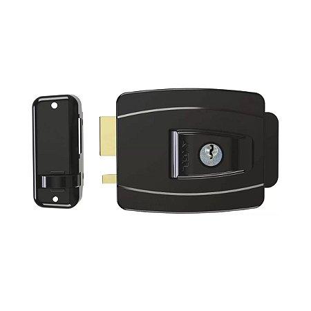 Fechadura Eletrica AGL Mini Interna Chave Simp F. Convencional c/ Botao Preta