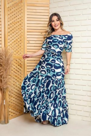 Vestido Animal Print Azul Longo - ADULTO