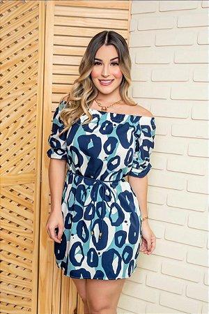 Vestido Animal Print Azul Curto - ADULTO