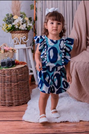 Macaquinho Animal Print Azul - INFANTIL