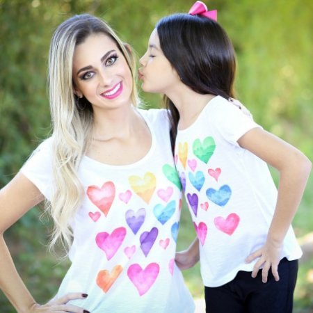 T-shirt Corações Aquarela - ADULTO