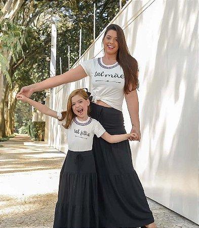T-shirt Tal filha com gola bordada - INFANTIL