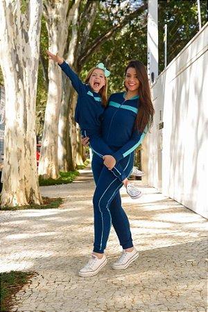 Conjunto Azul de Moletinho  com zíper - INFANTIL