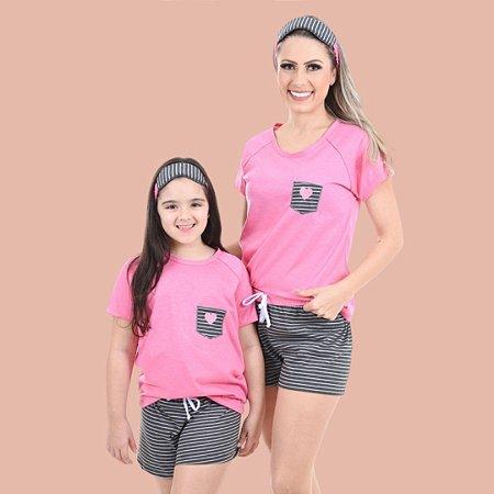 Pijama Rosa Coração - ADULTO