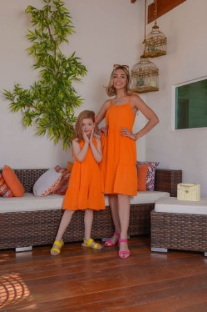 Vestido Valéria laranja - ADULTO