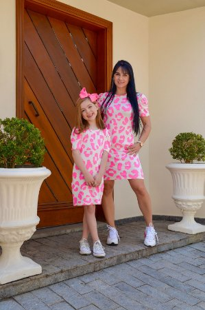 Vestido oncinha rosa - INFANTIL