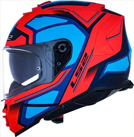 Capacete LS2 FF800 Storm Faster Azul/Laranja Fluo