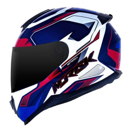 Capacete Norisk FF802 Razor Speed Max Azul/Branco/Vermelho
